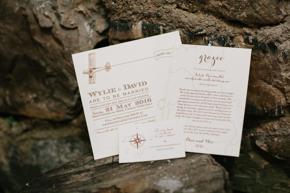 Cute destination wedding invitation suite