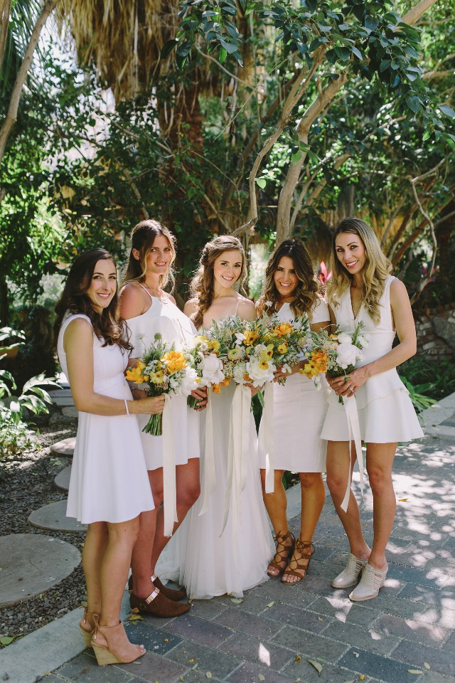 white bridal party dresses