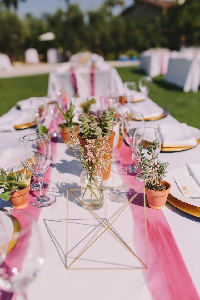 modern watercolor and desert themed wedding table decor