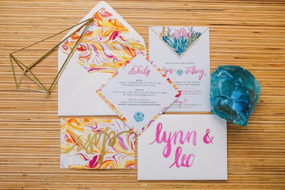 modern marbled and watercolor wedding invitations