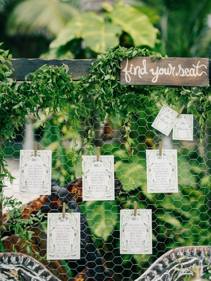 beautiful greenery filled weddig seating chart