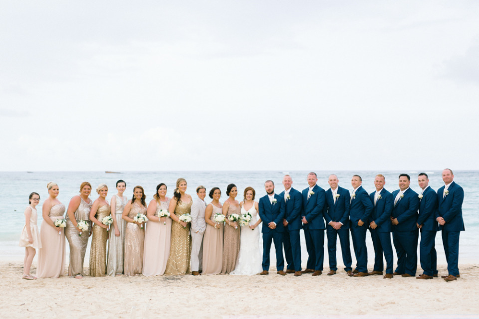 pretty blush, gold, and navy wedding party attire