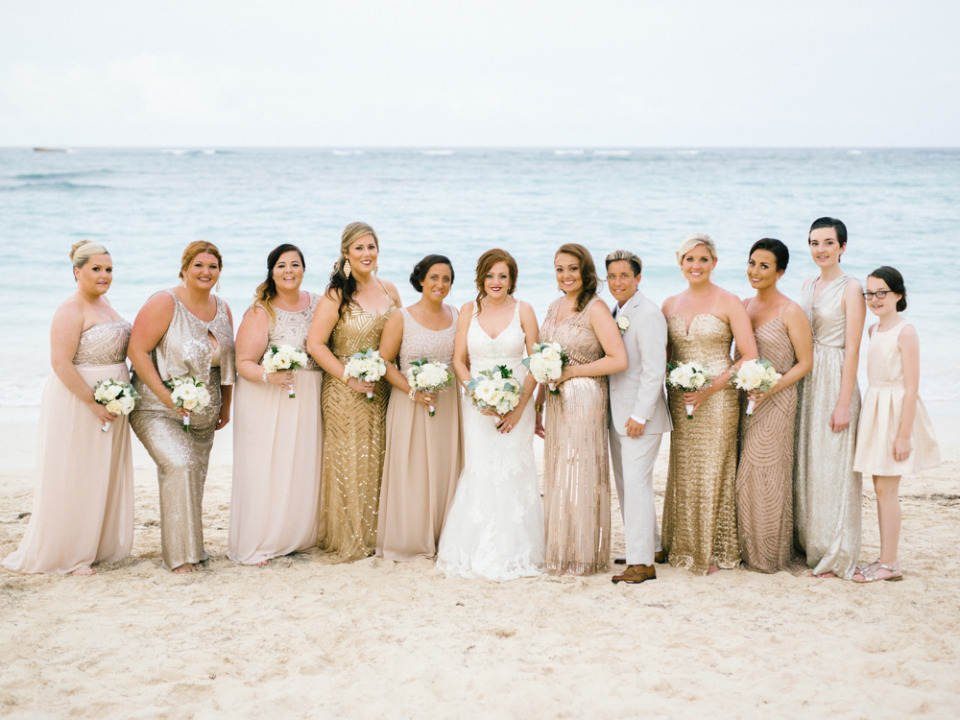 gold and blush sequin bridesmaid dresses