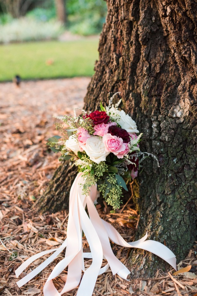 pink red and white wedding bouquet