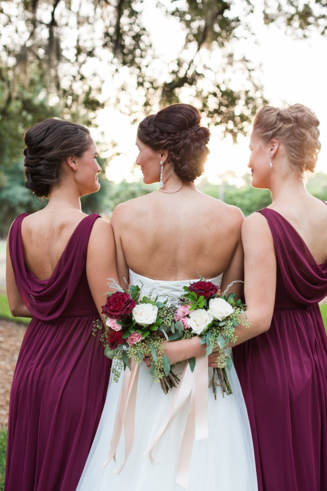 sunset bride and bridesmaid photo