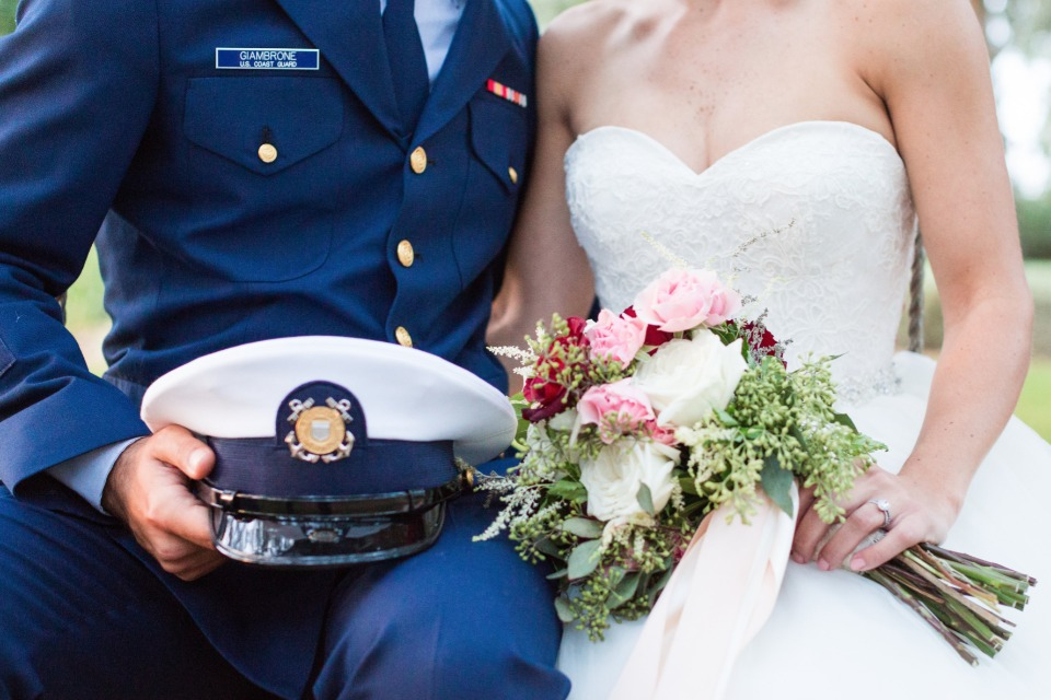 U.S. Navy dress blues and strapless wedding dress