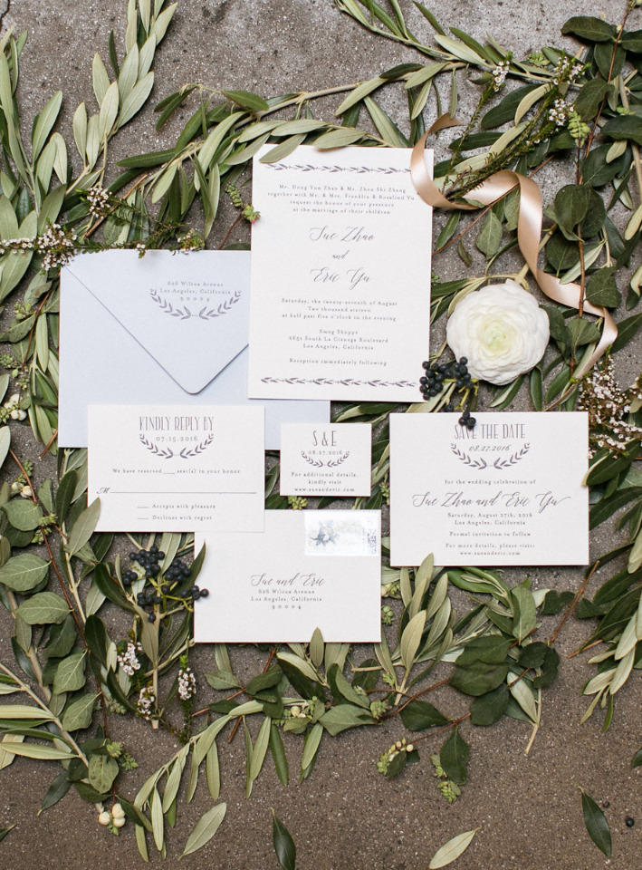 classic and lovely olive branch wedding stationery