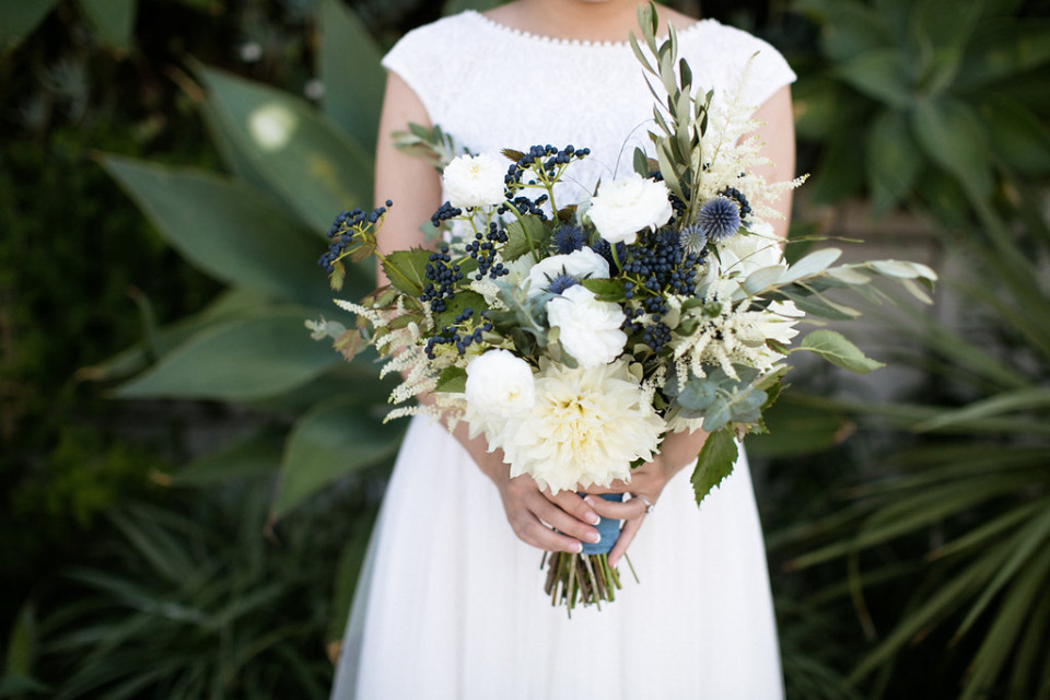 natural and organic white and blue wedding bouquet