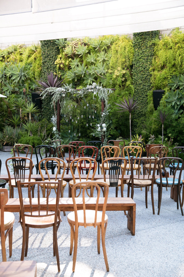outdoor wedding ceremony venue at the Smogge Shop
