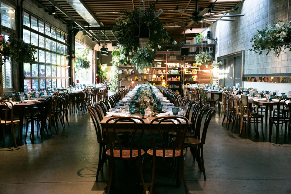 family style wedding reception at the Smogge Shop