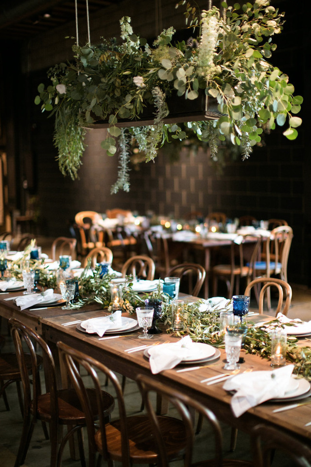 hanging floral boxes for wedding reception decor