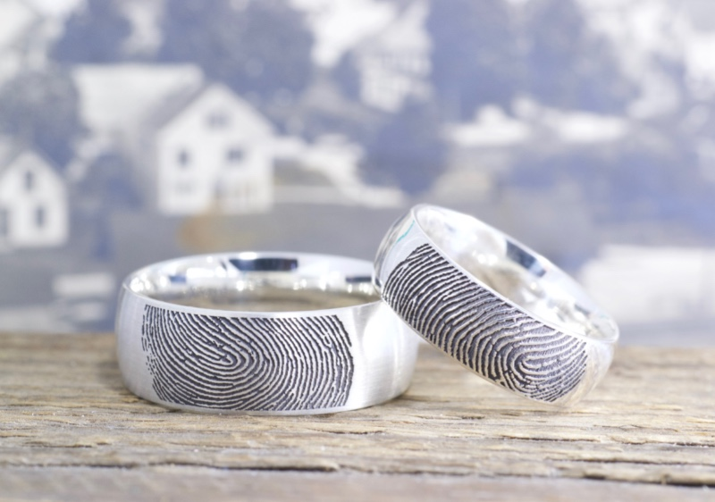 It's like your loved one just touched the end of their finger on your ring, leaving their mark. Handmade in Topsham, Maine by Brent