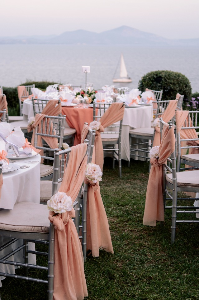 sea side wedding reception in Greece