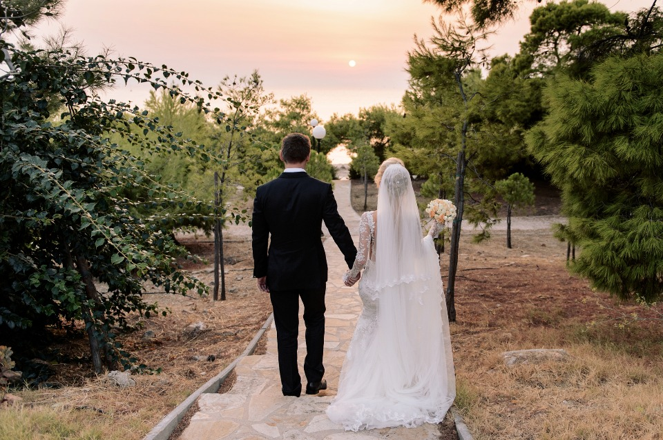 just married sunset wedding photo
