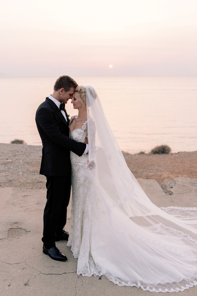 formal sunset wedding photos in Greece
