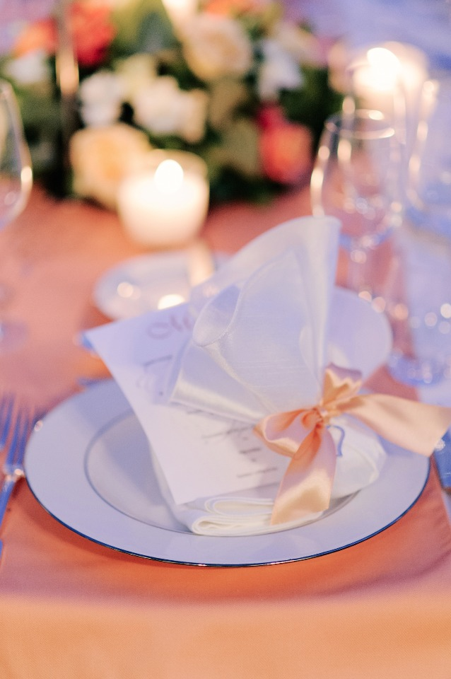 peach and white wedding table