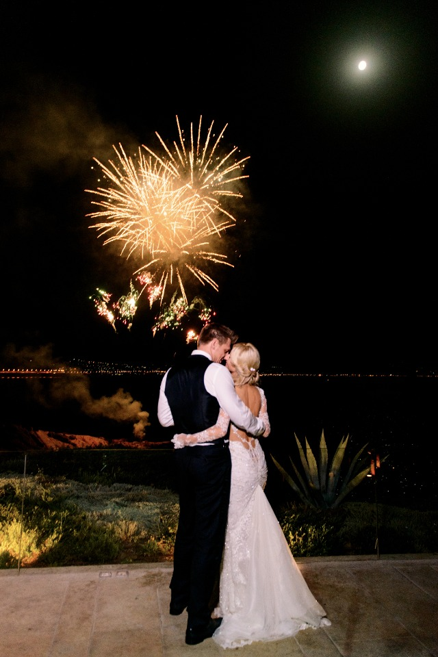 sweet fireworks wedding couple