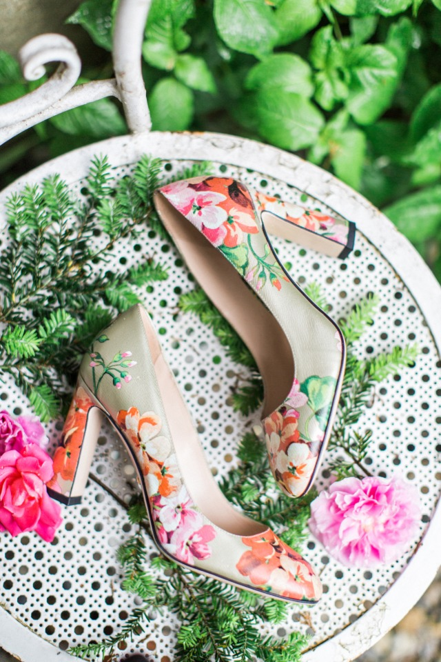 fresh flowers themed wedding shoes