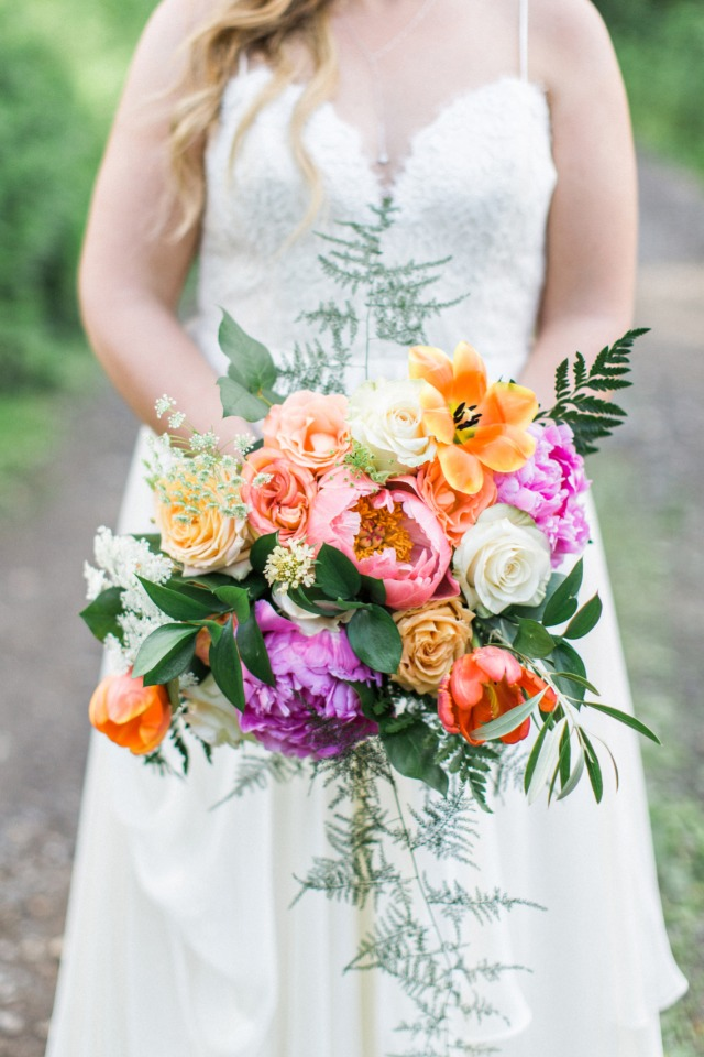 orange pink and purple wedding bouquet