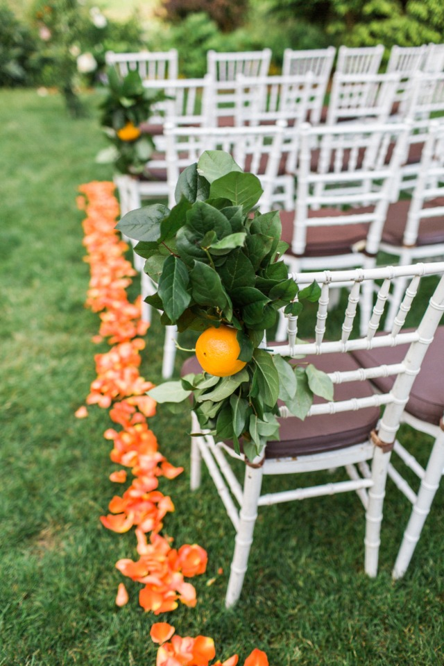 orange ceremony aisle decor