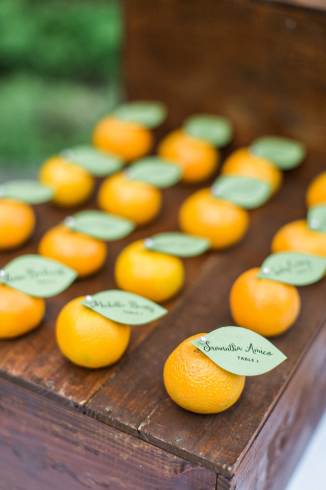 sweet little clementine escort cards