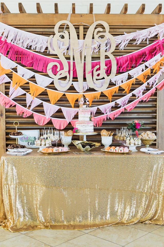 fun bright colored Florida wedding dessert table
