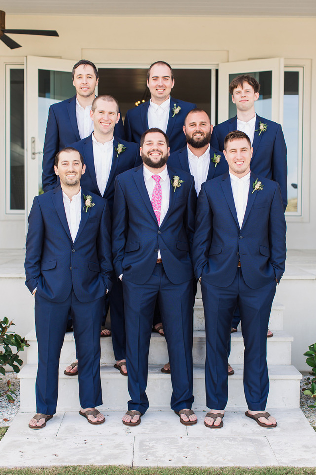 navy blue groom and groomsman attire