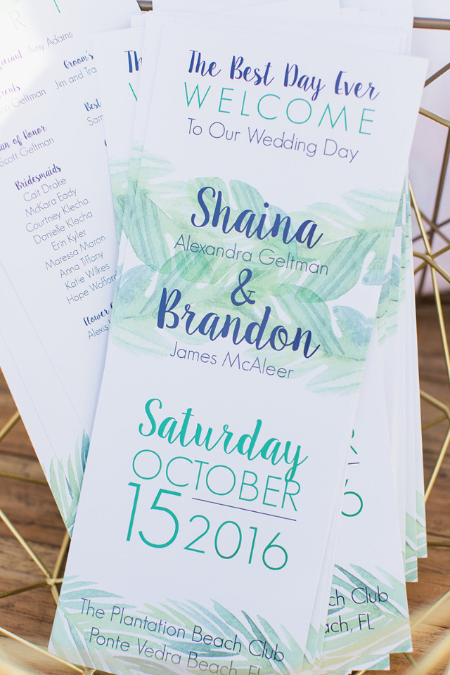 watercolor beach wedding program