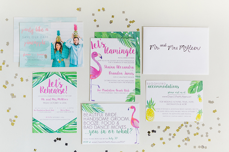 watercolor flamingo wedding stationery