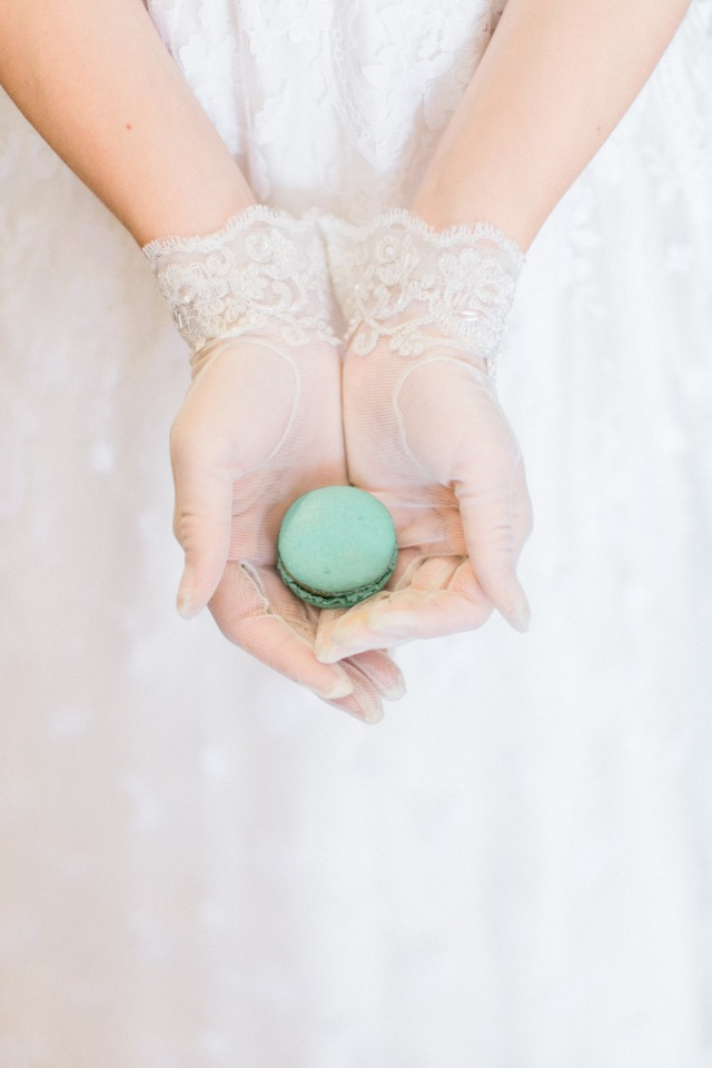 lace bridal gloves and macaron