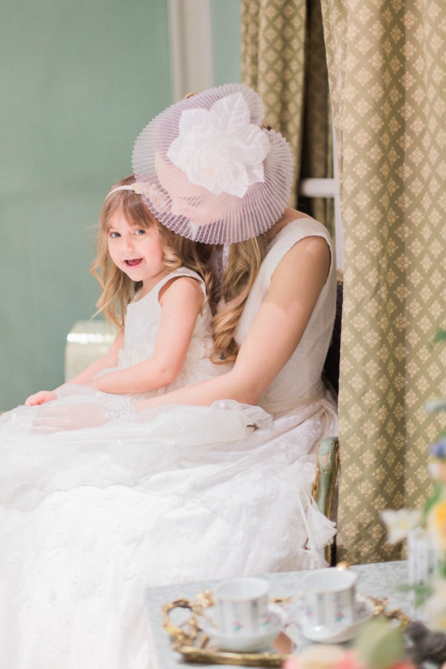 sweet bride and flower girl photo