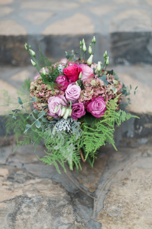 pink and purple rose wedding bouquet