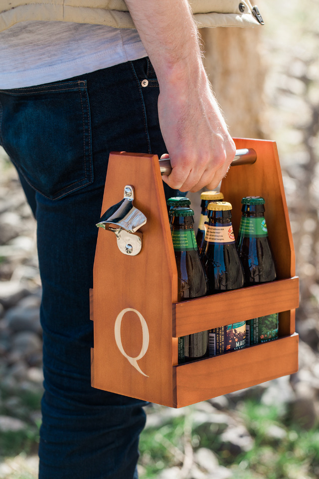 e Man Registry's Personalized Wooden Six Pack Beer Holder