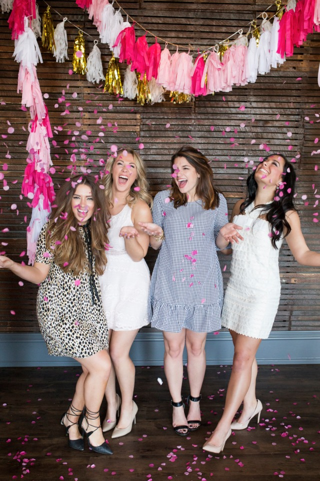 cute pink and gold confetti photobooth
