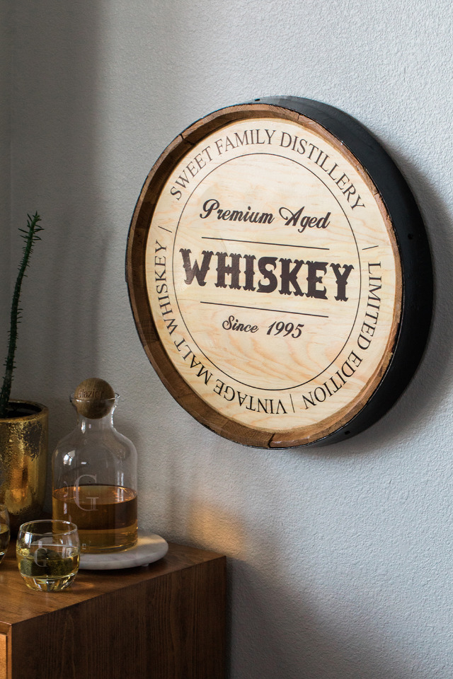 Groom gift idea - Personalized Oak Whiskey Barrel Head Sign from The Man Registry
