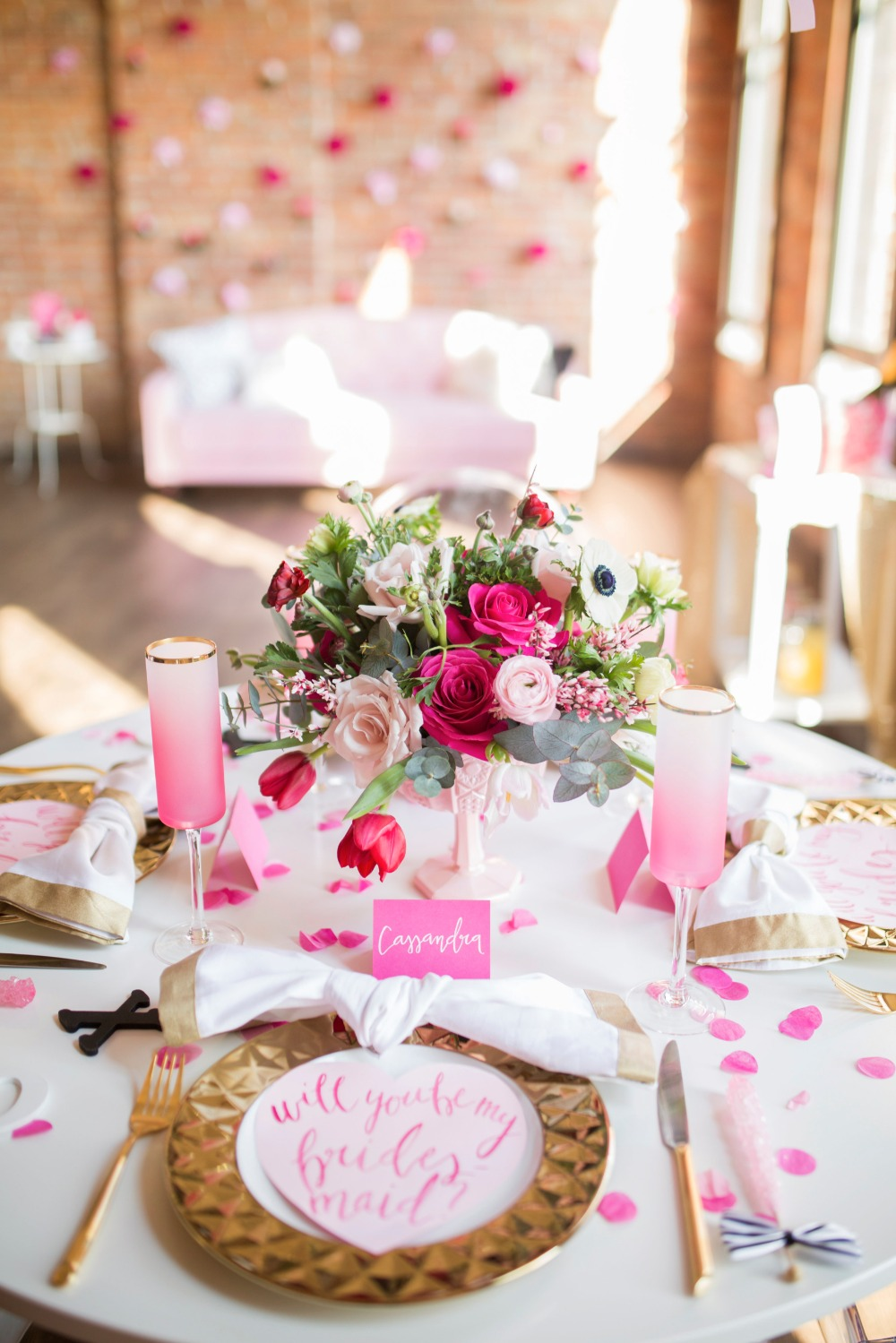 A Gold And Pink Will You Be My Bridesmaid Party You Have to See!