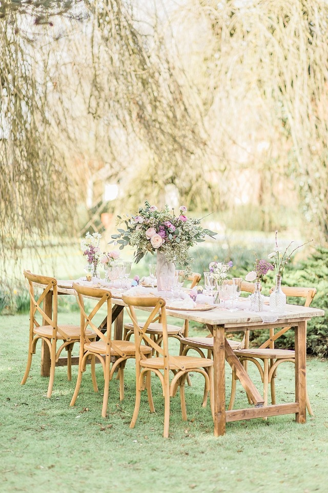 Dreamy outdoor table scape for Spring weddings