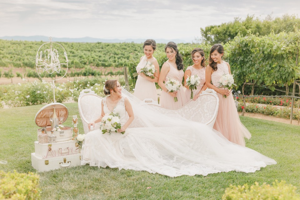 Gorgeous photo op with the bridesmaids