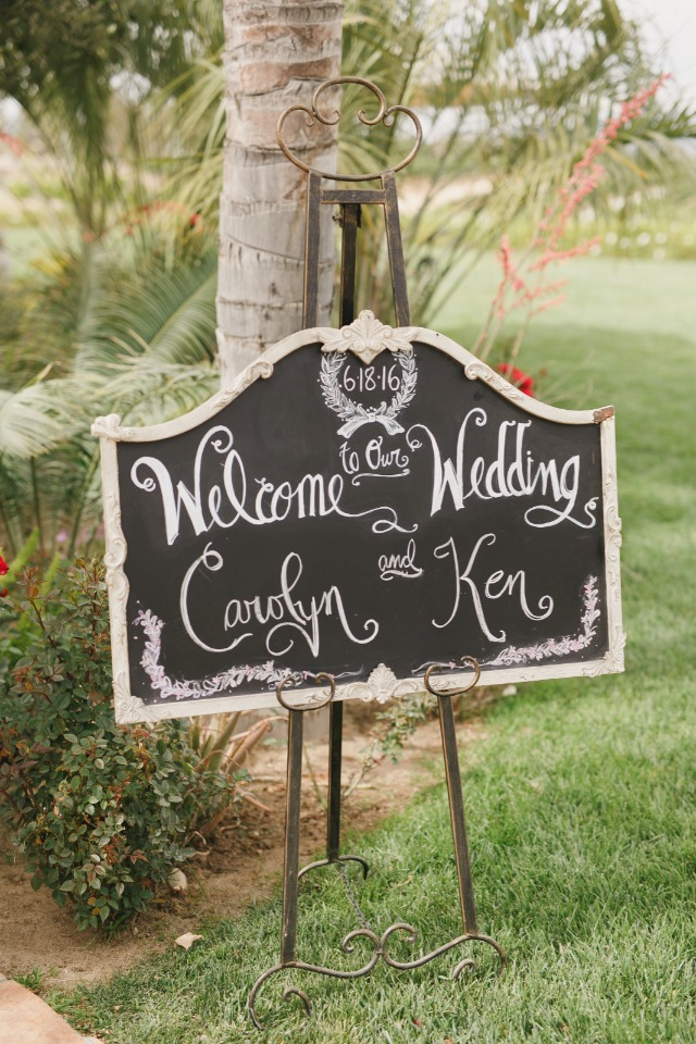 Pretty chalkboard wedding sign
