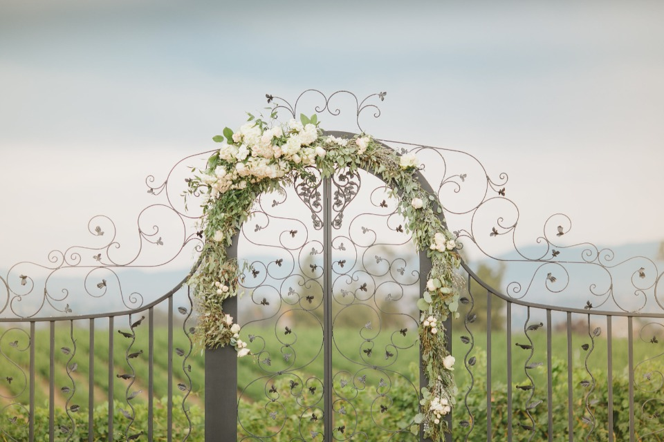 Beautiful iron gate ceremony arbor