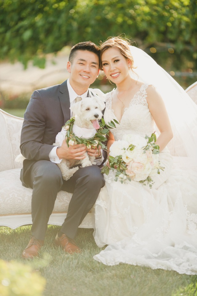 Romantic vineyard wedding with flower pup
