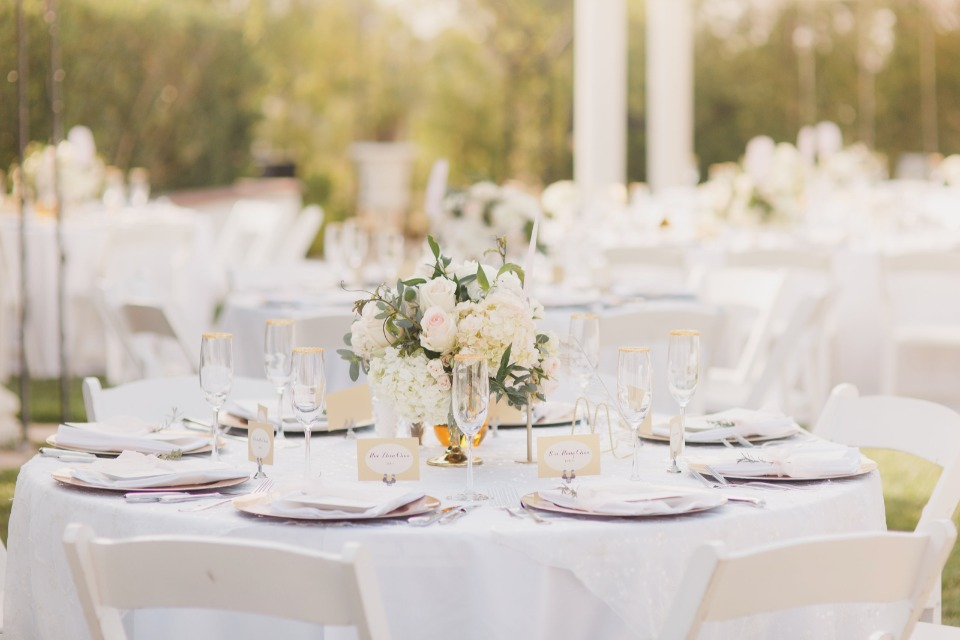 Dreamy white gold and blush reception