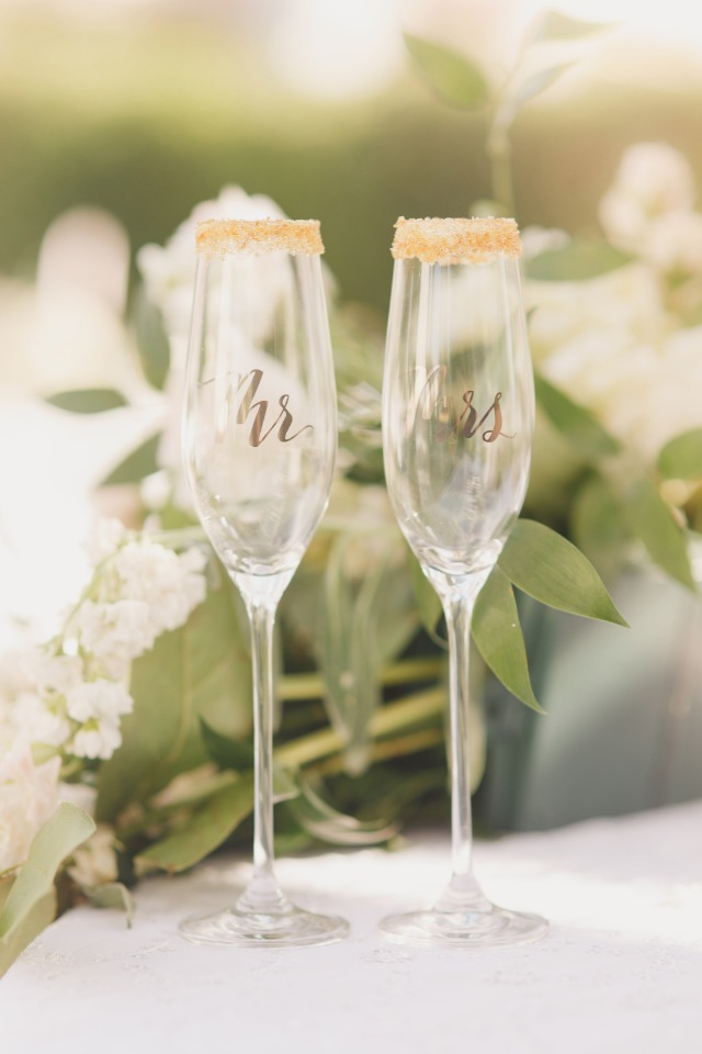 Sugar rimmed toasting glasses for Mr and Mrs