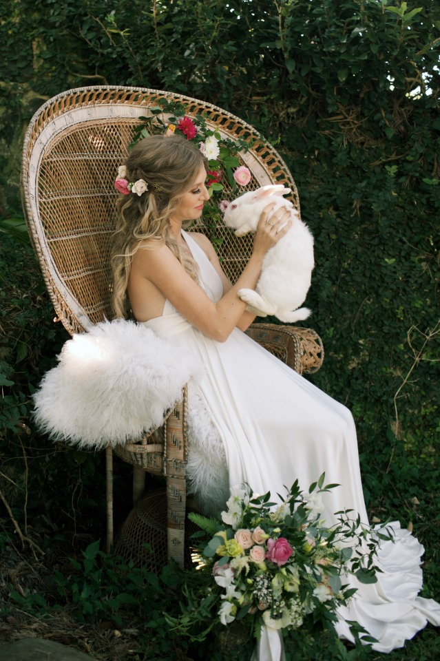 sweet white bunny and bride photo