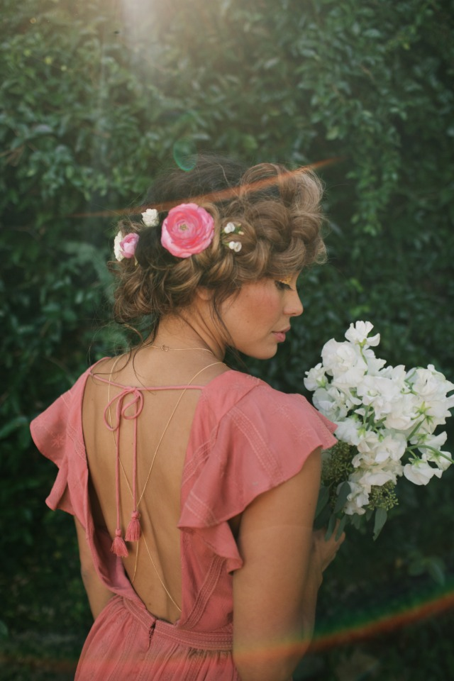 pink bridesmaid dress with boho braid hair style