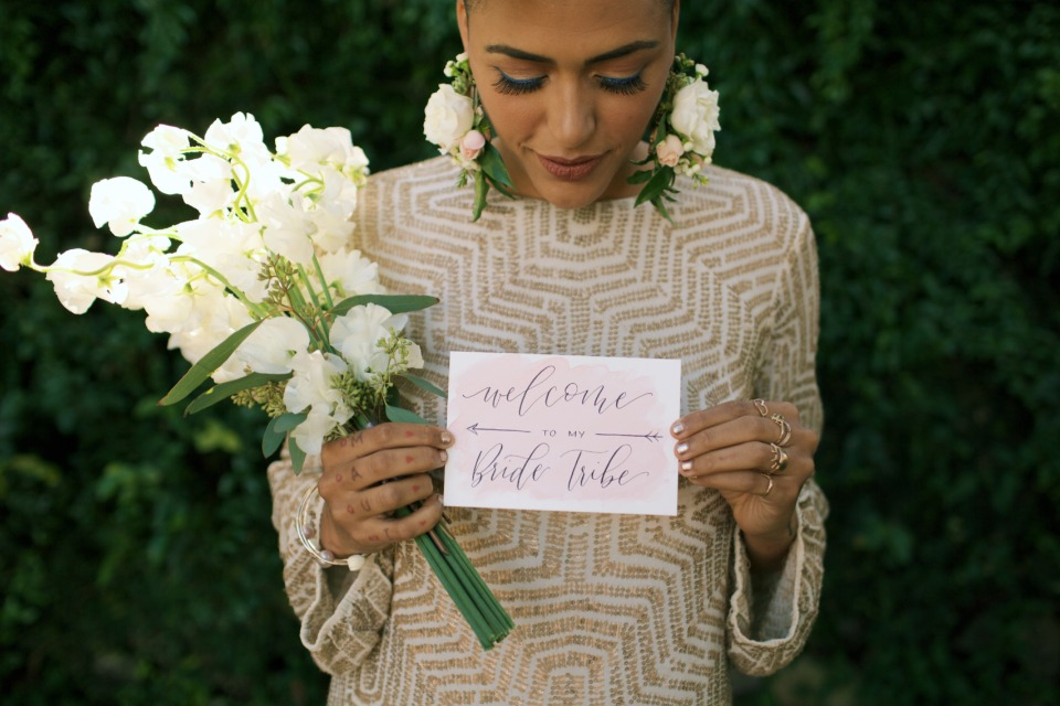 modern champagne bridesmaid dress and welcome to my bride tribe card