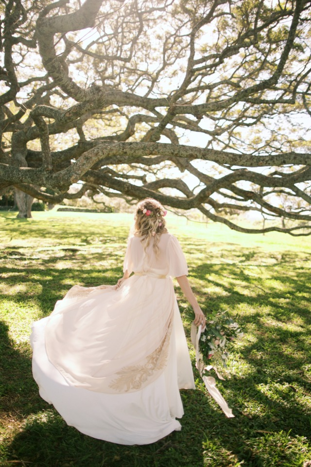 twirling in wedding dress