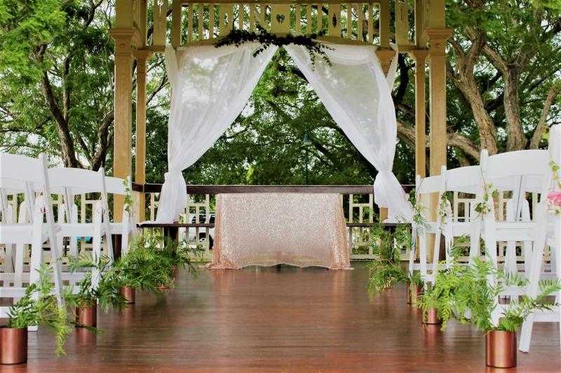 Gorgeous Copper and Greenery Ceremony decor by www.brisbaneweddingdecorators.com.au