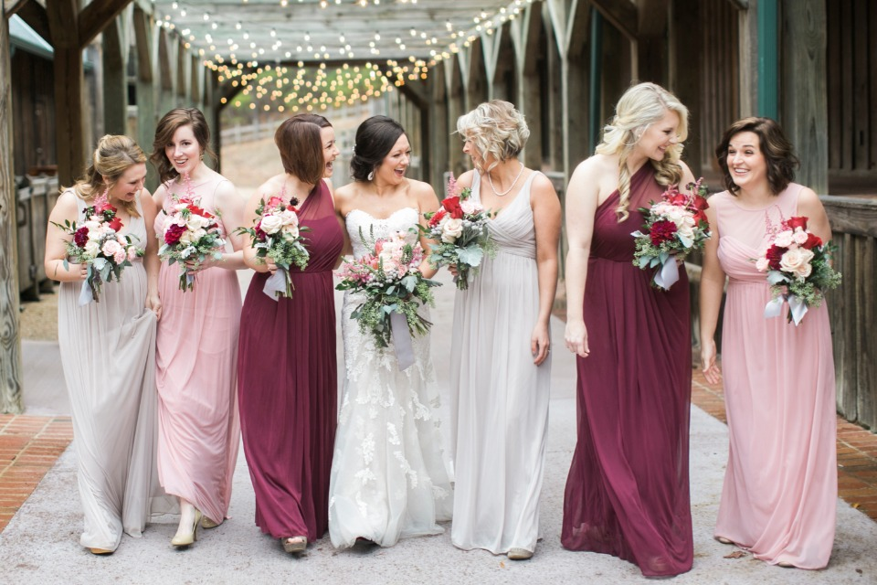 Cozy blush and burgundy winter wedding at the farm for Winter wedding colors for bridesmaids dresses