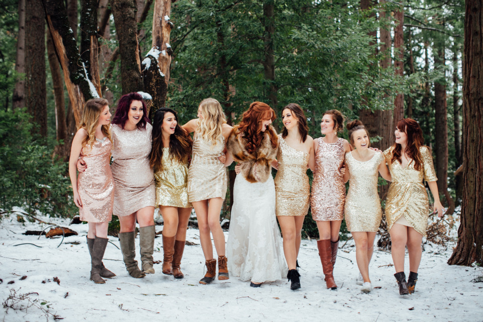 sparkly sequin gold and pink bridesmaids dresses with boots